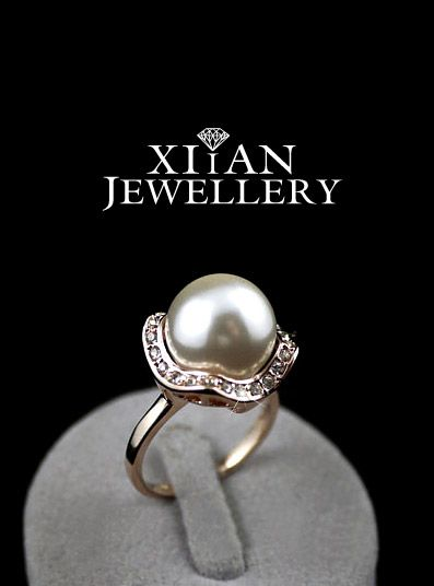 18K Rose Gold GP Large Pearl Ring w/ Swarovski Crystals
