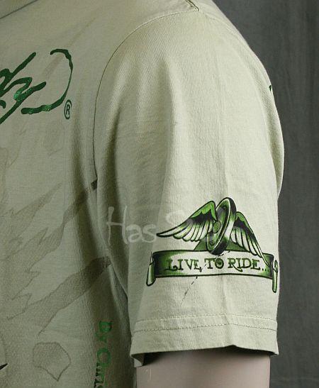 Ed Hardy Mens T Shirt Tattoo and Sin Skull Olive XXL