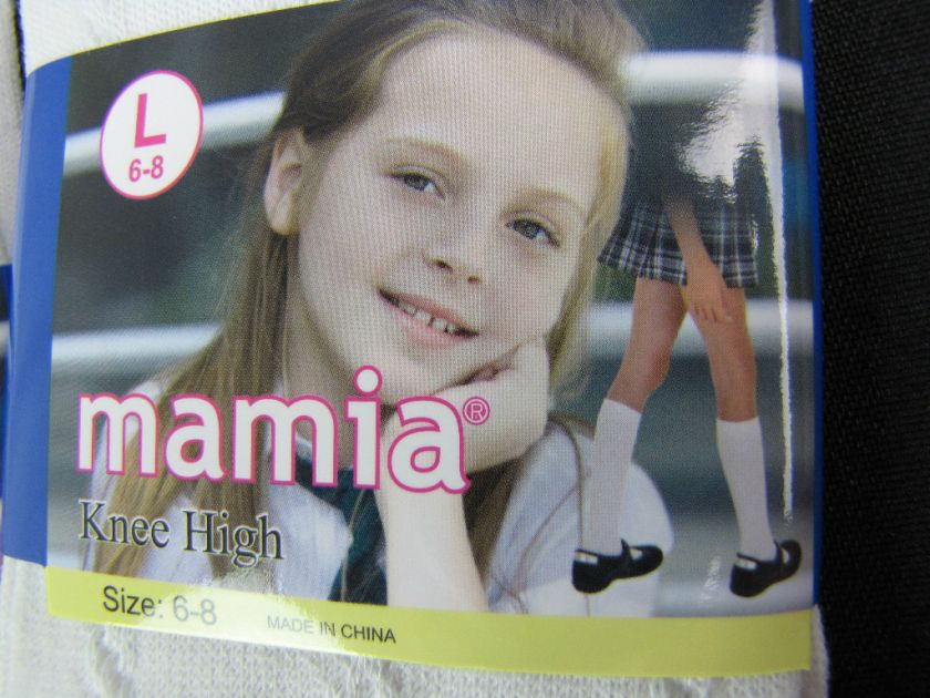 Pairs Girls Knee high School Socks White L 6 8 731341109069