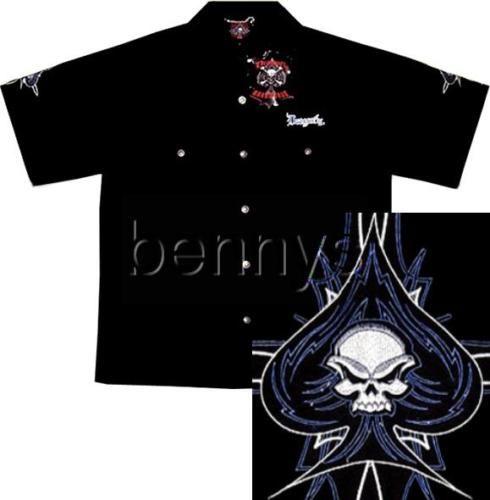 NEW Skull Pinstripe biker work shirt, Dragonfly, XL