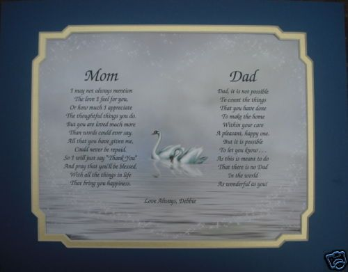 MOM & DAD PERSONALIZED POEM LOVELY GIFT FOR PARENTS