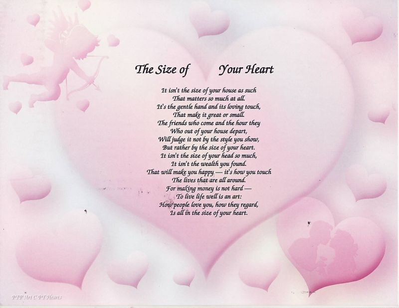 SIZE OF YOUR HEART LOVE POEM PERSONALIZED NAME PRINT