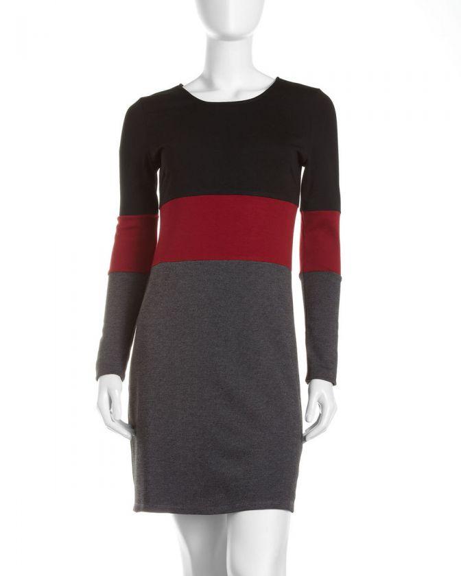 JB by Julie Brown Long Sleeve Colorblock Dress, Red
