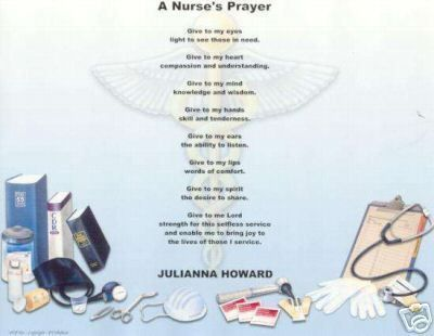 WHAT IS A NURSE POEM PRAYER PERSONALIZED NAME MEDICAL