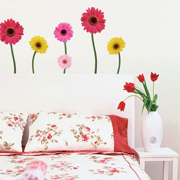 DAISY FLOWERS Home Art Decor Mural Point Sticker Paper