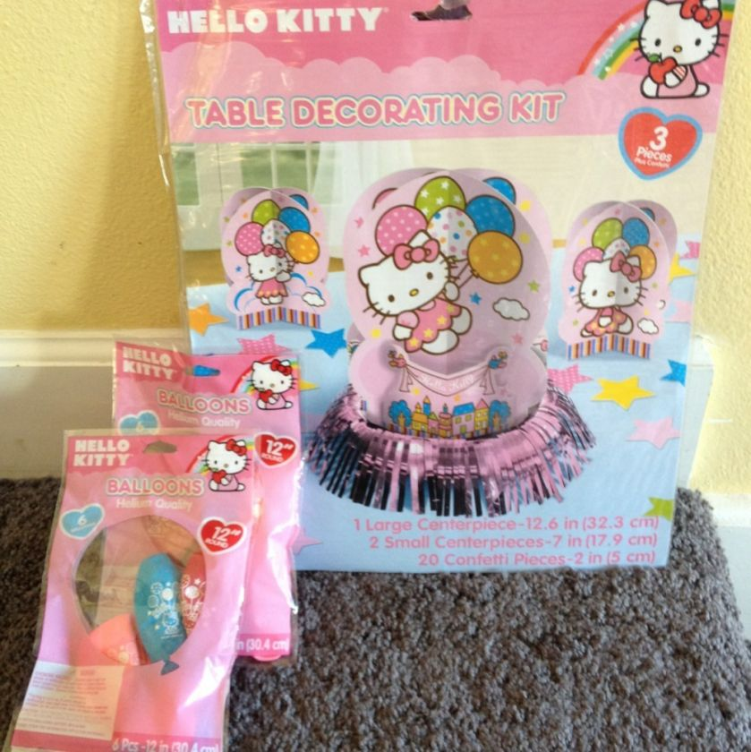 Hello Kitty Birthday Party Table Decorations With 12 Balloons