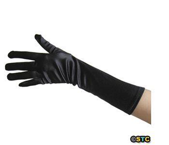 Black Satin Gloves ~ DANCE WEDDING PROM FORMAL EVENING PARTY